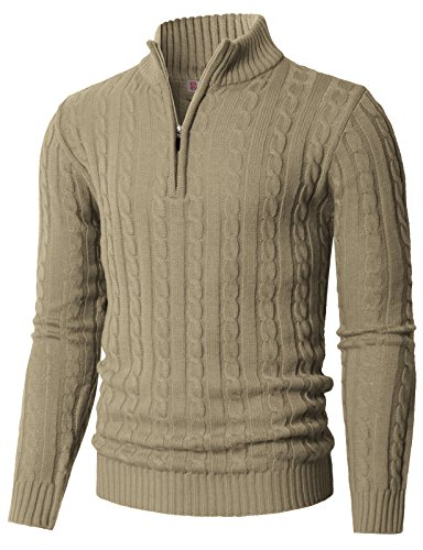 H2H Men's Casual Slim Fit Quarter Zip Twist Knitted Pullover Sweater Beige US M/Asia L (CMOSWL020)