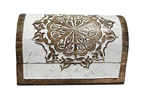 Keyhomestore Baúl Marquetería de Madera Decorado Blanco Estilo Oriental Muebles Indian–H16X 26X 15cm