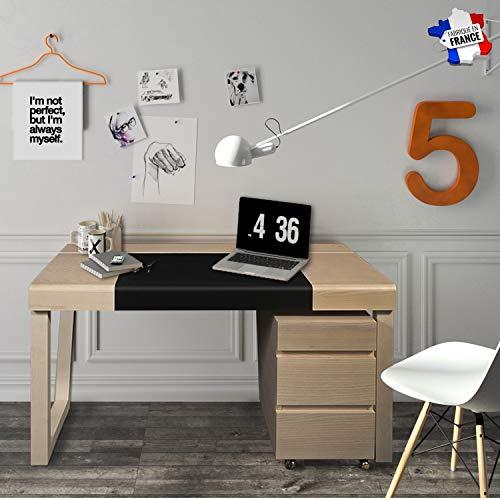 Gontier bureau, netwerk, essenhout – 100% vervaardigd in Frankrijk. 130x76x86 Frêne Blanchi - Cuir Noir