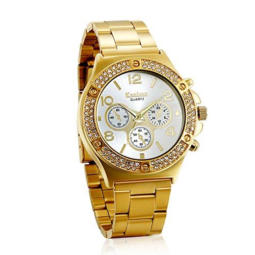 Avaner Reloj Dorado de Esfera Dorada Dial con Diamantes de Imitación Brillantes, Grande Reloj de Caballero Cuarzo, 3 Subesferas Decorativas, Reloj Acero Inoxidable Hip Hop Style