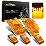 Partsam 5pcs 264160AM Forward Facing Amber Lens Cab Marker Roof Running Top Crystal Chrome Light Assembly w/Yellow 65-5050-SMD LED Compatible with Hummer H2 SUV SUT 2003-2009 Waterproof