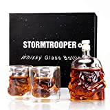 MINGYALL Transparent Creative Whiskey Decanter Set,Stormtrooper Bottle with 2 Glasses, Whiskey Carafe, for Whiskey, Vodka, and Wine, 730ml