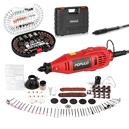 Power Rotary Tool Kit With Flex Shaft And Universal Keyless Chuck 154pcs Accessories+305-Piece Rotary Tool Accessories Kit,Variable Speed Engraving,Drill Sanding,Cutting, Polishing For Engraver