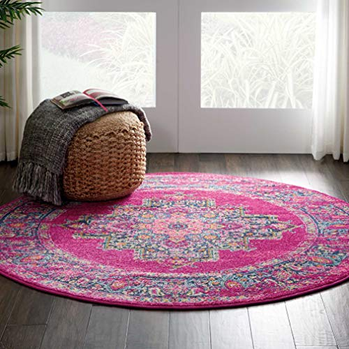 Marca de Amazon - Movian Vacha, alfombra redonda, 121,9 x 121,9 cm (diseño geométrico)
