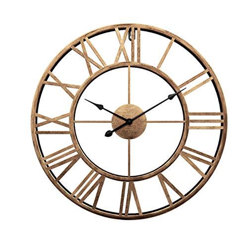 Reloj De Pared Silencioso 3D, Gran Reloj Vintage Industrial Europeo Con Números Romanos Sin Hacer Tictac Reloj De Decoración De Esqueleto De Metal Para Sala De Estar, Cocina Y Salon Golden,60x60cm