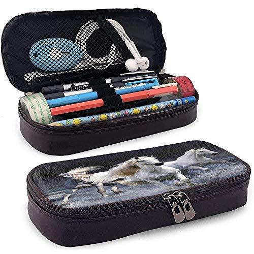 Estuche para lápices Estuche para lápices de cuero Caballos blancos Corriendo por la noche Mar Playa Animal Art Pouch Holder Box Estuche de transporte de viaje de gran capacidad