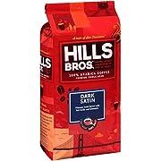 Hills Bros Dark Satin Whole Bean Coffee, Dark Roast - 100% Arabica Coffee Beans – Full-Bodied Dark Blend Coffee with Bold Flavor, Intensity and a Smooth Finish (32 Oz. Bag)