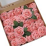 Ksnnrsng Flores Rosas Artificiales Espuma Rosa Falsa para Manualidades, Ramos de Novia, centros de Mesa, Despedidas de Soltera y Decoración del Hogar (25 Piezas, Rosado)
