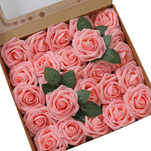 Ksnrang - Rosas Artificiales de Aspecto Real, Rosas Falsas de Color Fucsia para Bricolaje, Ramos de Boda, centros de Mesa, decoración para el hogar, Rosa, 25pcs