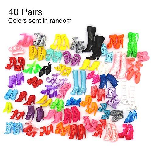 FADDARE Puppe High Heel Schuhe, 40 Paar Bunte Stiefel Knöchelriemen Sandale für 30cm Barbies Outfit Kleid Zubehör, DIY Mini Kinder Spielzeug Kleid Prop Puppe Heel Schuhe