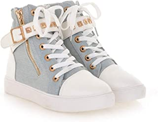 SANOMY Women Casual Wedge Sneakers Fashion Zipper Canvas Walking Shoes High Help Solid Color Tennis Sneakers