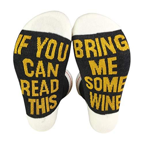 """caralin Meias de gola redonda divertidas com dizeres """"Shiny If You Can Read This Bring Me"""", meias de algodão DG"""