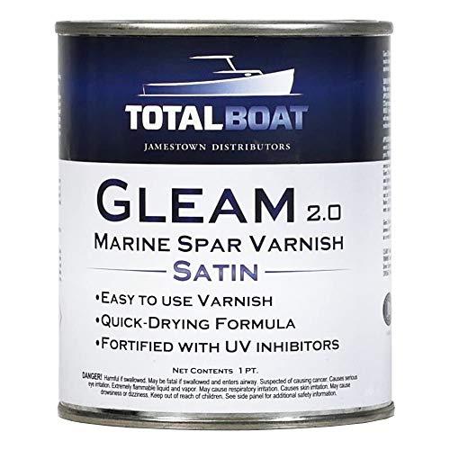 TotalBoat Gleam Marine Spar Barnish, acabado de poliuretano satinado brillante y satinado para madera, barcos y muebles de exterior (pinta satinada)