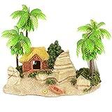 Amo-Lole Playa Creativa Casa del Árbol De Coco Acuario Pecera Decoración De Paisajismo Resina Decorativa Vintage Escondite Cría De Camarones Refugio Adorno Suministros para Mascotas