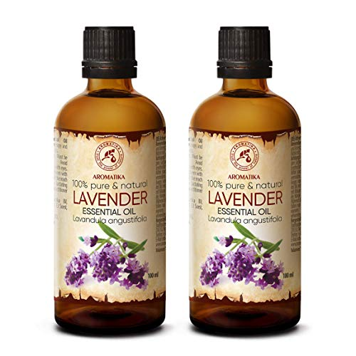 Aceite Esencial de Lavanda 2 x 100ml - Oleum Lavandulae - Bulgaria - 100% Puro - para Dormir Bien - Belleza - Bienestar - Aromaterapia - Relajación - Aroma de la Habitación - Lámpara de Aroma