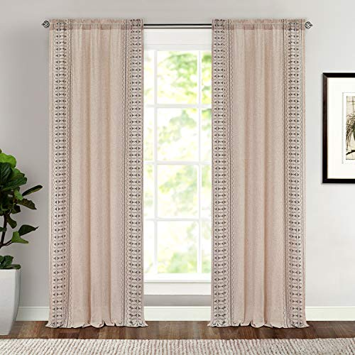 """Dreaming Casa Linen Curtains, Boho Curtains for Bedroom, Natural Linen Curtains 96 Inches Long, Rod Pocket Linen Curtains, 1 Panel 52"""" W x 96"""" L"""