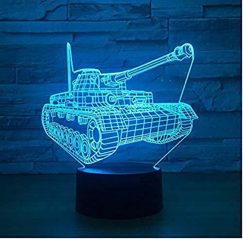 3D Led Luz De Noche Decoración Tabla Lámpara De Escritorio Tanque 7 Colores Cambio De Botón Táctil Y Cable Usb Navidad Cumpleaños Regalo