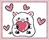 Cross Stitch Kits Stamped, OWN4B Love The Pig Printed Pattern 11CT 14.6x11.0 inch DIY Embroidery Kit (Love)