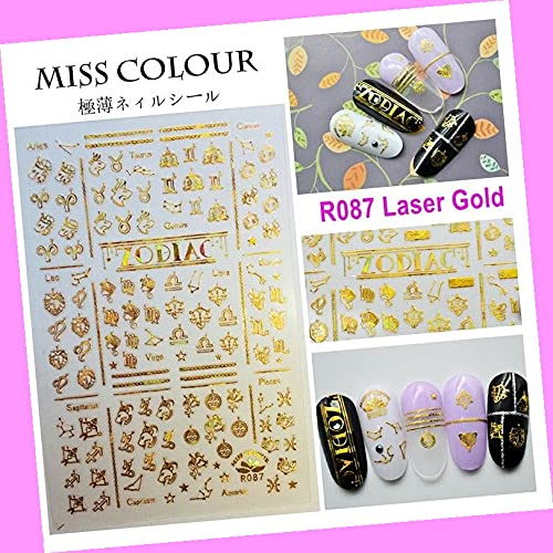 Zodiac 12 Constellation Latin Japanese Name Symbol Signs 3D Nail Stickers R087 Laser Gold for Nails Design Nail Art Stickers Decals Supplies Manicure Tips Sticker Colorful for Nail Decorations