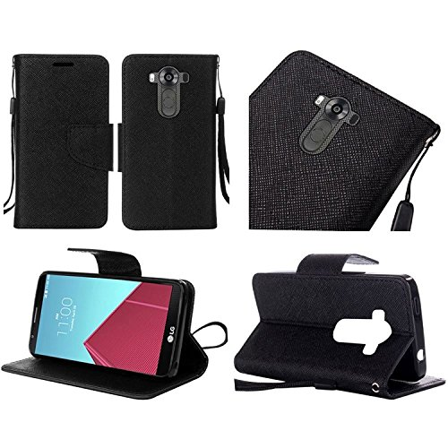 HR Wireless Cell Phone Case for LG V10 G4 Pro Wallet Covers - Black