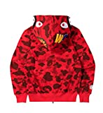 Men's A Bathing Ape BAPE Shark Head Thin Coat Full Zipper Camouflage Jacket Hoodie