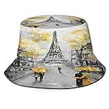 Sombrero de Pescador Unisex Pintura al óleo París Paisaje de la Ciudad Europea Francia Torre Eiffel Pareja Moderna Negro Plegable De Sol/UV Gorra Protección para Playa Viaje Senderismo Camping