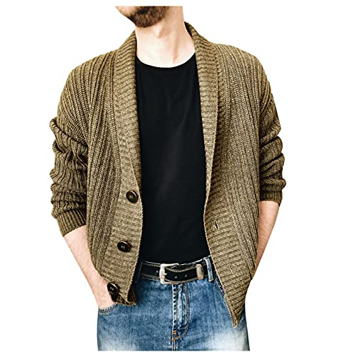 XUNFUN Men's Shawl Collar Cardigan Sweaters Cable Knitted Button Up Casual Winter Thermal Long Sleeve Solid Sweater Knitwear Khaki