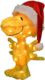 ProductWorks 24-Inch Pre-Lit 3D Woodstock in Santa Hat Christmas Yard Decoration, 35 Lights