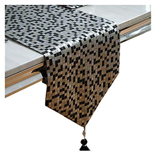 Camino de mesa moderno de mosaico simple con borlas Mesas de comedor de cocina y camino de mantel para exteriores para decoraciones de boda de fiesta de cocina casera Negro y plata ( Size : 33x210cm )