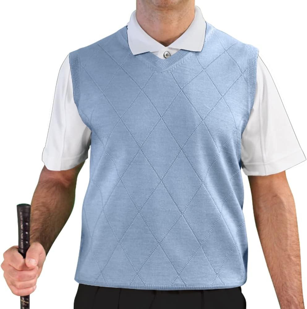 Men's Vintage Vests, Sweater Vests Golf Knickers V Neck Solid Sweater Vest - Mens  AT vintagedancer.com