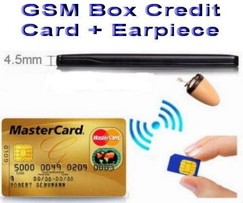 GSM BOX Credit Card Earpiece Spy Covert Bluetooth Hidden SIM Cheat Exam Test ID