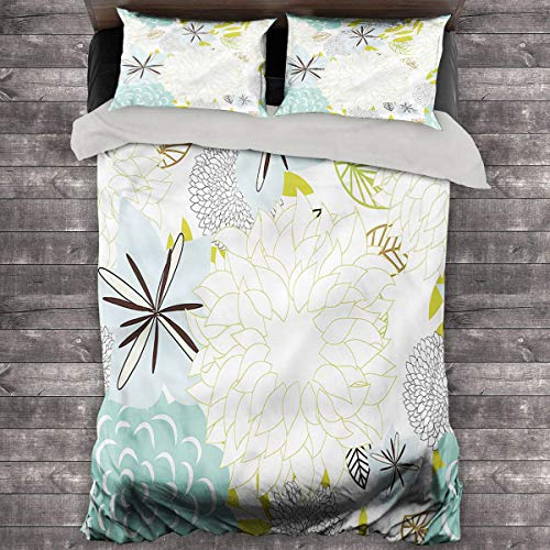 LanQiao Garden Duvet Cover Blossoming Spring Nature. 104'x89' inch with Two Pillowcases