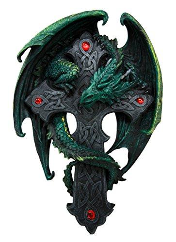 Ebros Celtic Knotwork Altar Drake Dragon Crucifix Wall Mount Sculpture Plaque Figurine 9.5'H