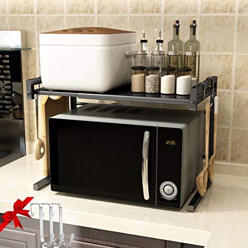 Froggen Mensola Microonde Allungabile Forno, Ripiano della Cucina del Forno 2 Livelli Mensola Microonde con 3 Ganci Pendenti 40-60x36x42cm Nero