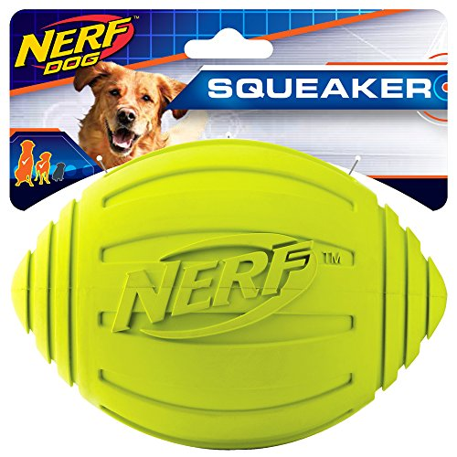 Nerf Dog Ridged Football Dog Toy with Interactive Squeaker, Lightweight, Durable and Water Resistant, 7 Inch Diameter for Medium/Large Breeds, Single Unit, Green