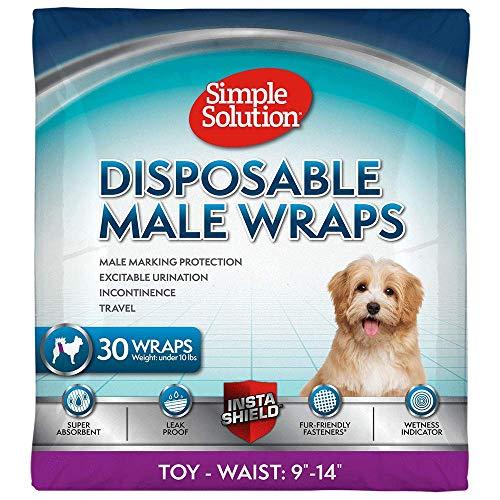 simple solution Einweg-Hundewindeln für männliche Hunde   männliche Wickel mit super saugfähiger, auslaufsicherer Passform   Aufregendes Urinieren, Inkontinenz oder männliche Markierung