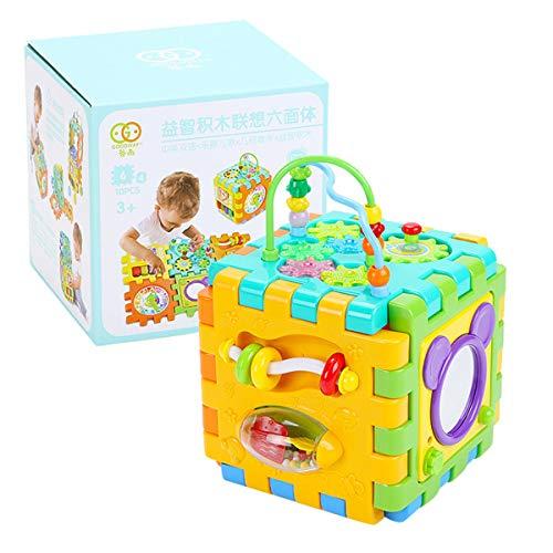 ruiruiNIE Baby Activity Cube Juguetes para niños pequeños Clasificador de Formas 6 en 1 Centros de Juego de Actividades para bebés