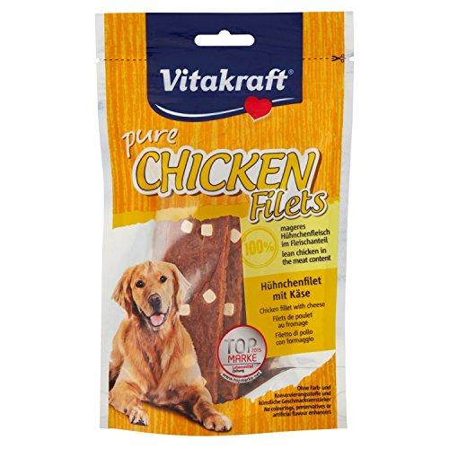 Vitakraft - Snack di Pollo in Filetto e dadini di Formaggio per Cani, 80 g, Confezione da 6