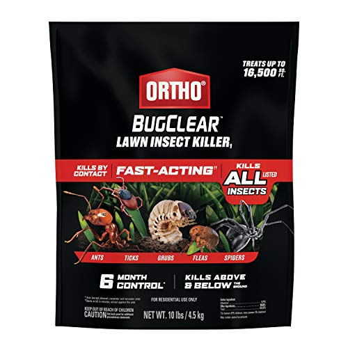Ortho BugClear Lawn Insect Killer1: Treats up to 16,500 sq. ft., Protect Your Yard & Garden Against Ants, Spiders, Ticks, Armyworms, Fleas & Grubs, 10 lbs.