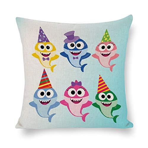 DONL9BAUER Baby Shark SVG PNG - Gorro de cumpleaños con diseño de tiburones para cumpleaños, diseño de camiseta con estampado de feliz cumpleaños, funda de cojín moderna para interior