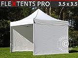 Tente Pliante Chapiteau Pliable Tonnelle Pliante Barnum Pliant FleXtents Pro 3,5x3,5m Blanc, avec 4 cotés