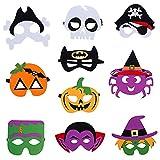 MEZHEN Mascara Halloween Decoracion Esqueleto Calabaza Mascara de Fieltro Máscaras para Niños Decoración Fiesta Halloween Cumpleaños Navidad 10 Pieza