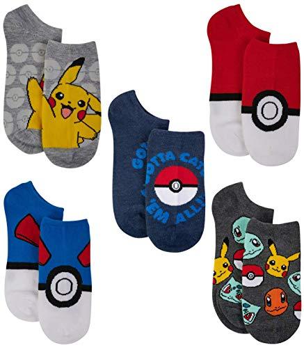 Pokemon Pikachu Boys No Show Character Socks (5-Pack)