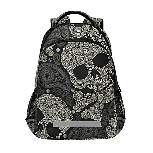 Glaphy Skull Peisley Backpacks Laptop School Book Bag Lightweight Daypack for Men Women Teens Kids