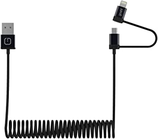 Gosh Lynkcable Lightning and MicroUSB 2-in-1 Coiled Cable,  1.2m, Black