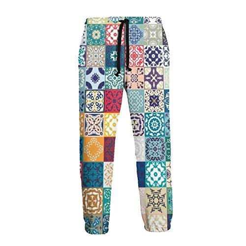 Inaayayi Patchwork - Pantalones de Deporte para Hombre, diseño Vintage de los países de Lisboa