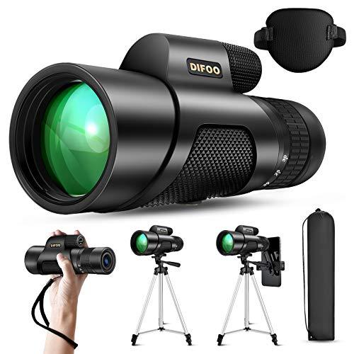 DIFOO Zoom Monocular Telescope 10-30X50 High Power Cosmic Scope Monocular for Adults Smartphone, with Telescopic Bracket Smartphone Holder & Tripod BAK4 Prism