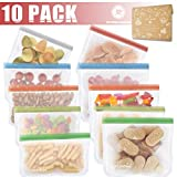 Kitchwise Reusable Food Storage Bags (10 Pack Snack andLunch Sized) Kids Snacks Resealable
