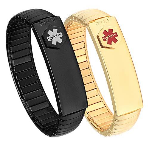 2 pulseras de alerta médica negra y dorada para hombre, de acero inoxidable, elástica, personalizables (poner detalles en la sección de elevación, tarjeta médica personalizada+tiras gratis)