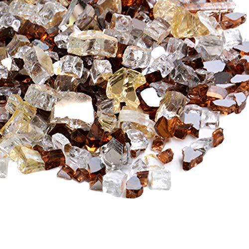 Skyflame 10 Pfund gemischtes Feuerglas für Feuerstelle im Landschaftsbau, 1/2 Zoll Gold, Platin Kupfer, reflektierend